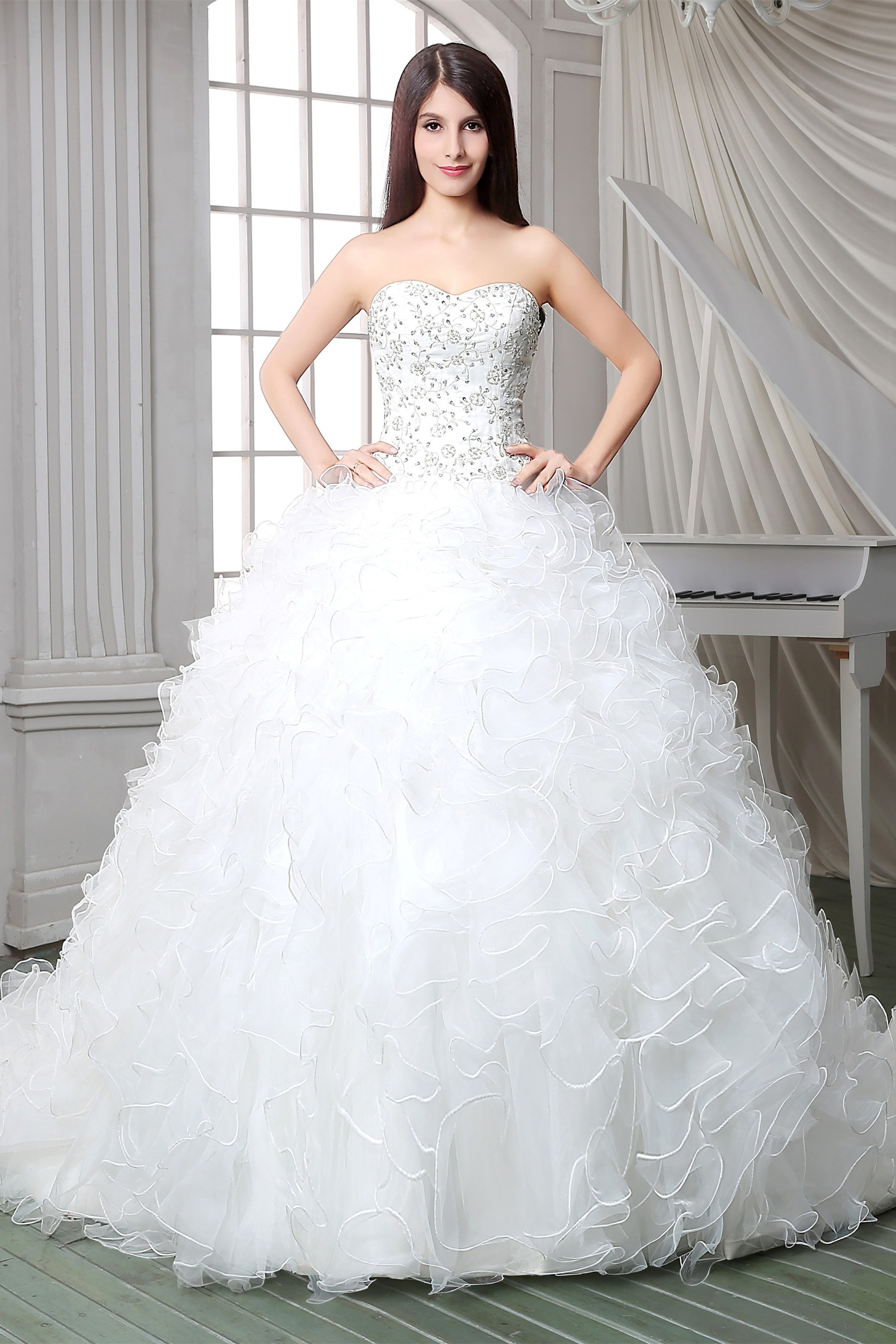 Royal Ball Gown Strapless Satin Embroidery Organza Ruffle Corset ...
