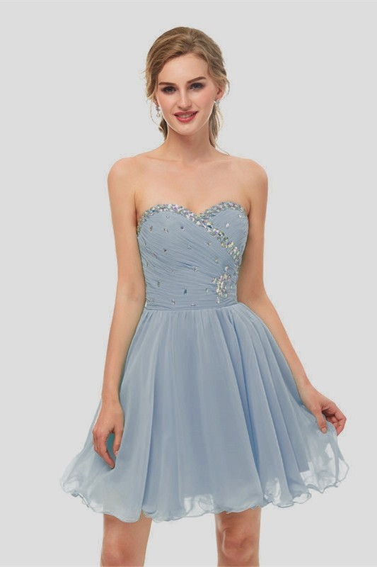 14892ff8589 Elegant Short Mini A Line Sweetheart Crystal Beaded Dusty Blue Chiffon Prom Cocktail  Dress