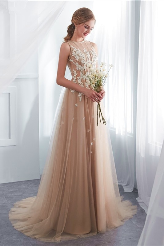 82c4cf68367faa Elegant A Line High Neck Sheer Top White Appliques Champagne Tulle Prom  Evening Dress