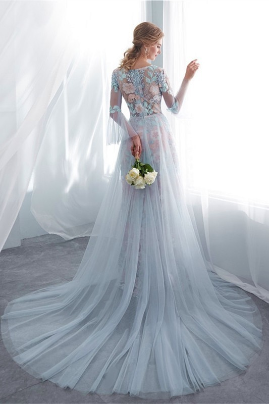6a9e25a7894 lightbox moreview · Stunning Sheath Scoop Long Sleeve Champagne Lace Dusty  Blue ...