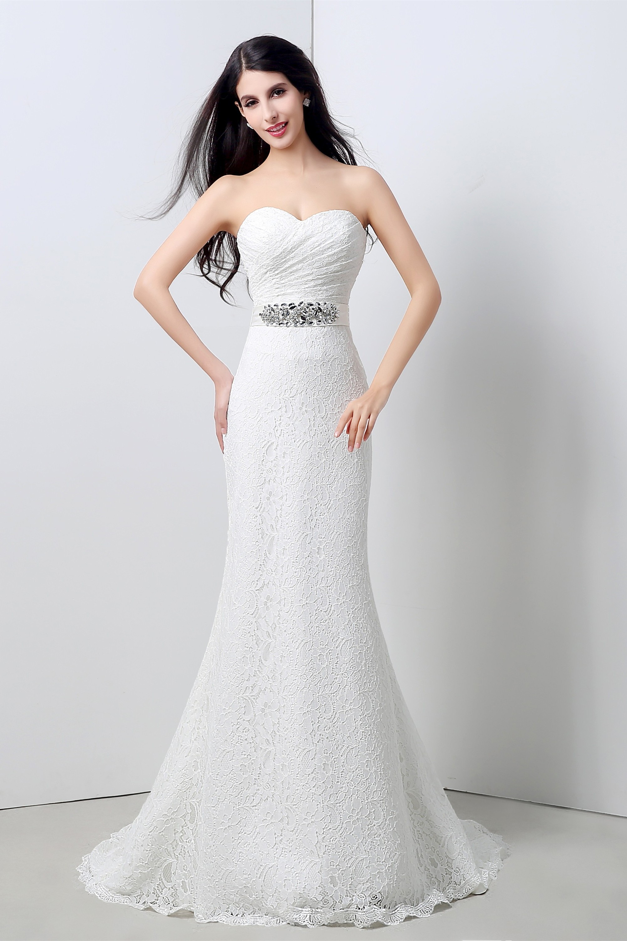 Stunning Mermaid Strapless Corset Back Lace Wedding Dress With Crystals Sash: Lace Mermaid Wedding Dresses With Corset At Reisefeber.org
