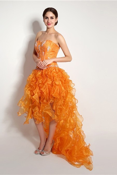 dcd5946cf010f Sparkly High Low Strapless Orange Organza Ruffle Prom Dress Corset Back