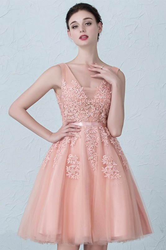 e924225bb99 Stunning Short A Line V Neck Beaded Blush Pink Lace Tulle Prom Homecoming Cocktail  Dress