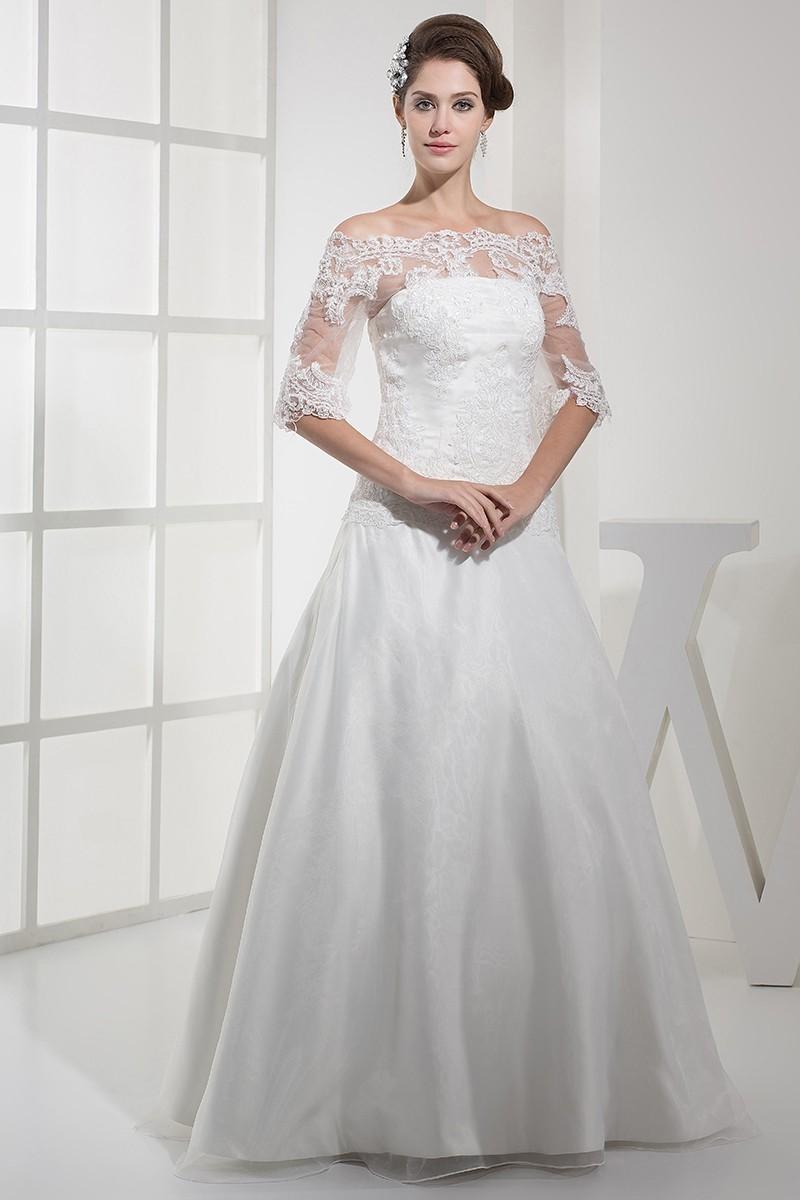 0c8c41035de57 Elegant A Line Off The Shoulder Half Sleeve With Lace Wedding Dress Bridal  Gown