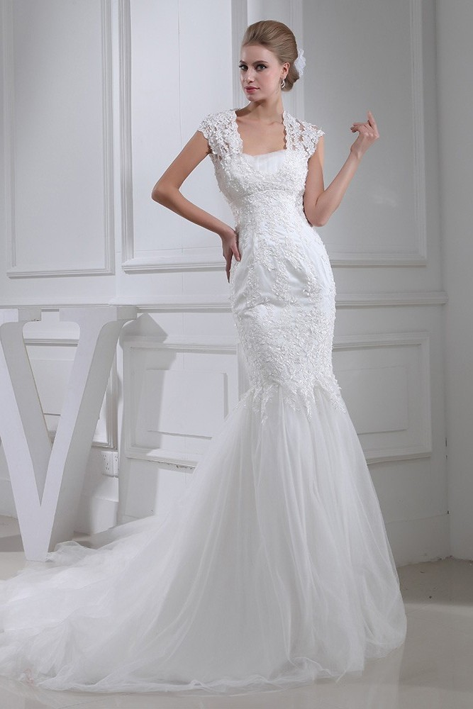 Square Neck Lace Wedding Dress