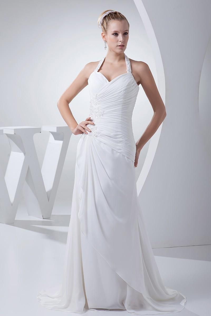 97b05831 Beautiful Sheath Halter Beaded Appliques Pleated White Chiffon Beach  Destination Wedding Dress