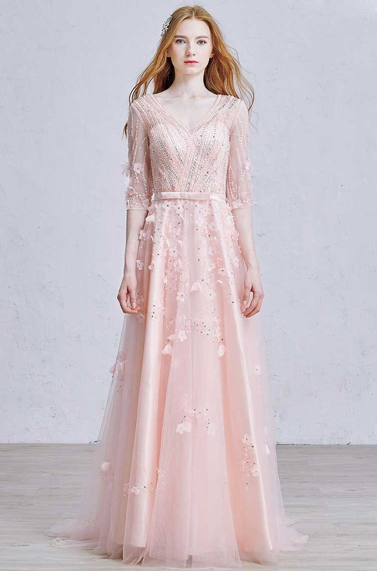 2cc3191e8f5 Gorgeous V Neck Half Sleeve Crystal Beaded Blush Pink Tulle A Line Prom  Bridesmaid Dress With Flower