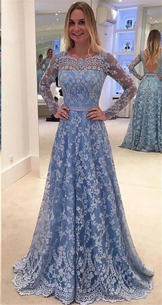 Long lace sleeve prom dresses exclusive photo
