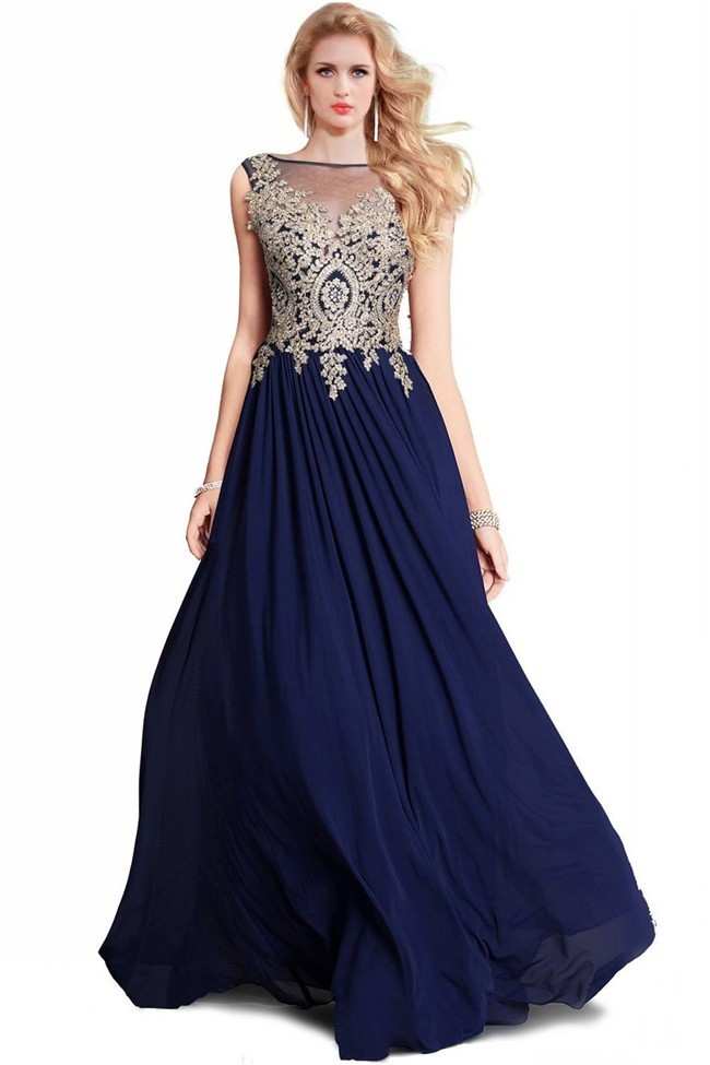 A Line Bateau Long Navy Blue Chiffon Gold Lace Applique Prom Dress
