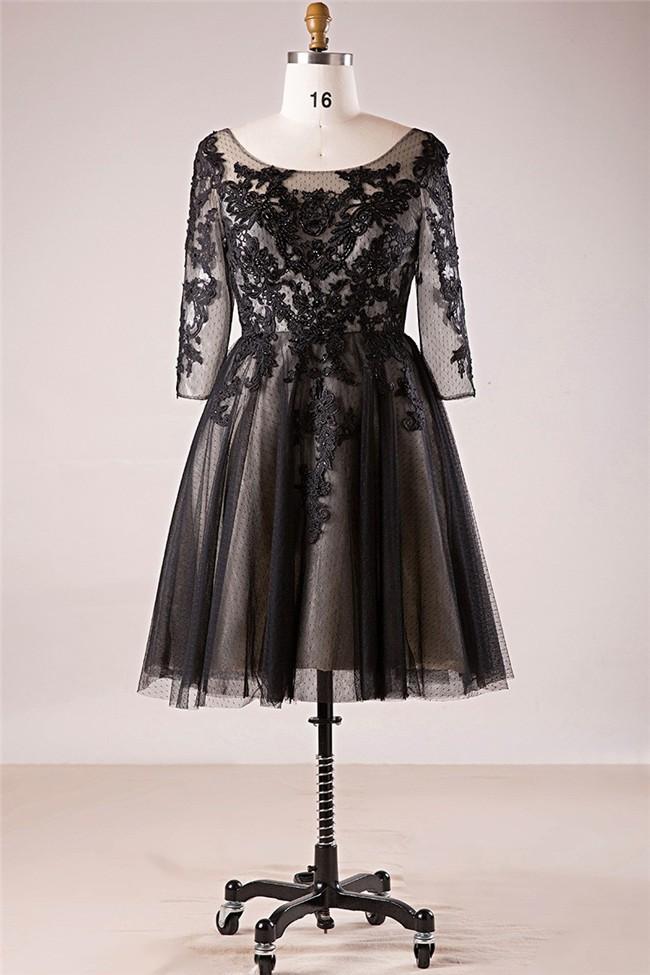 A Line Bateau Neckline Black Tulle Lace Plus Size Prom Dress With