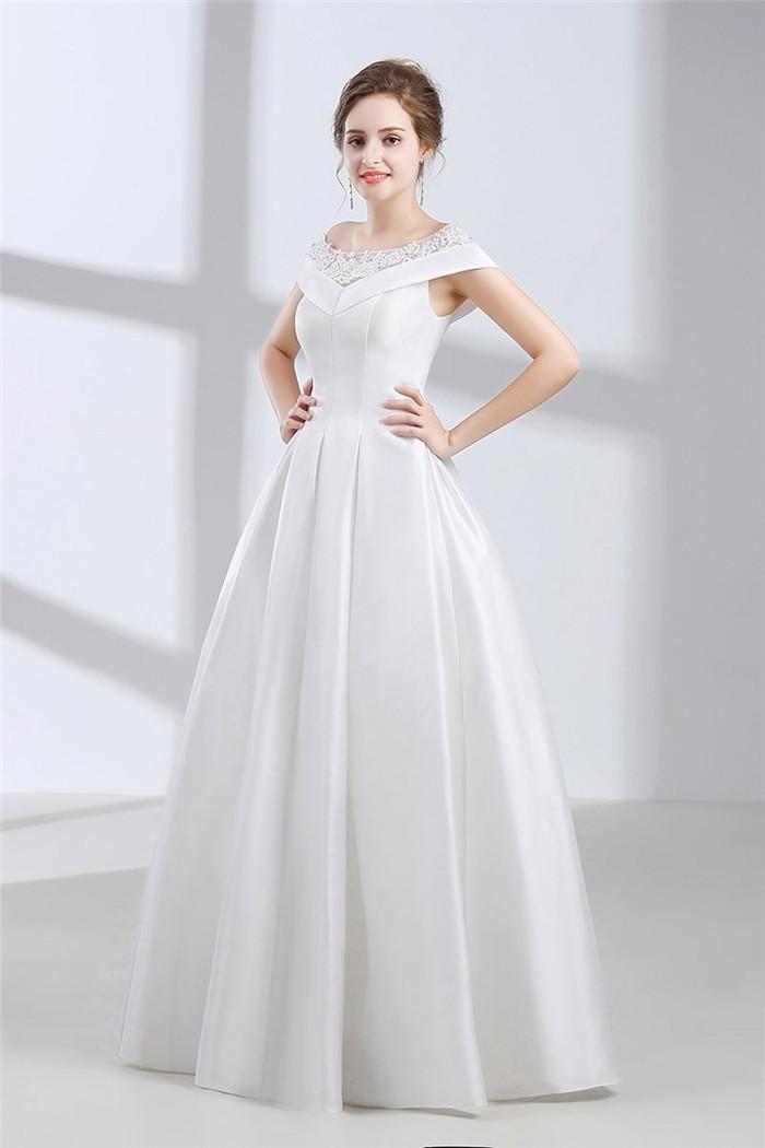 A Line Bateau Neckline Cap Sleeve Corset Back Satin Wedding Dress ...