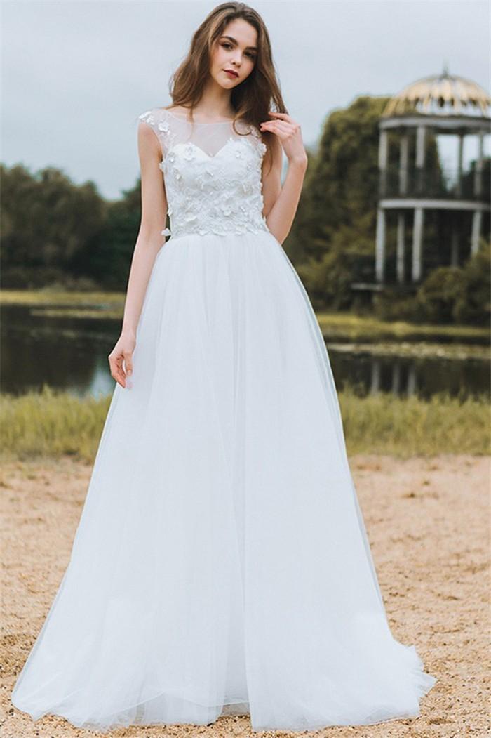 A Line Bateau Neckline Lace Tulle Bohemian Wedding Dress