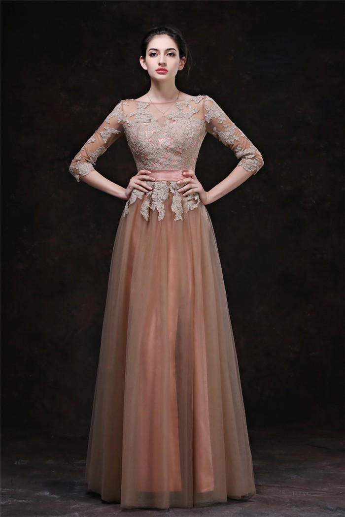 ac05241a8329 A Line Bateau Neckline Long Brown Tulle Lace Evening Prom Dress With Three  Quarter Sleeves