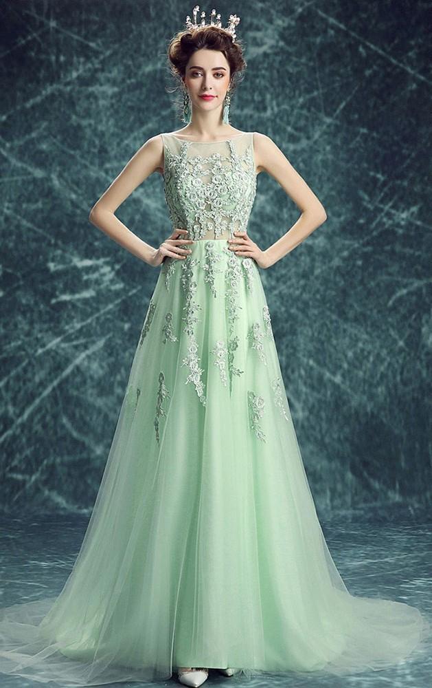 5183b9612c0 A Line Bateau Neckline Sleeveless Mint Green Tulle Lace Prom Dress Corset  Back