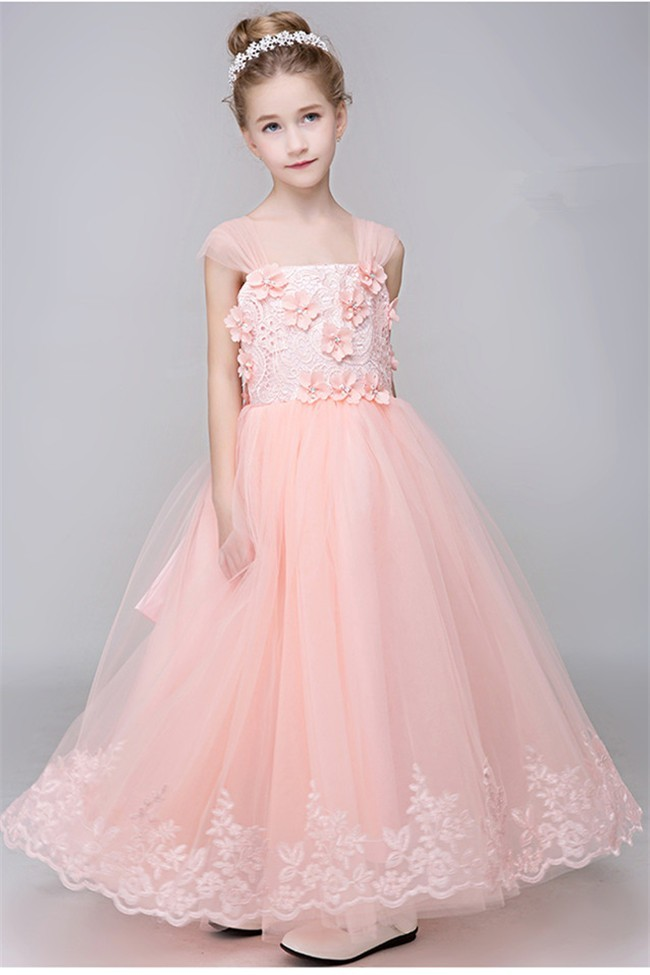 6abc918fa A Line Blush Pink Tulle Lace Flower Girl Dress With Cap Sleeve Straps Bow