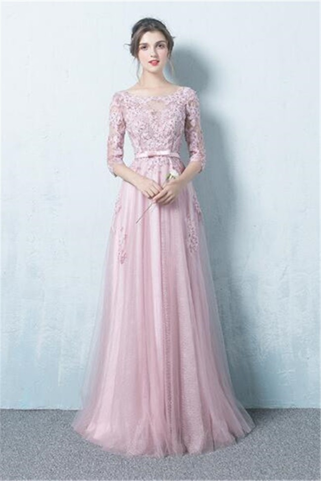 A Line Boat Neck Long Dusty Pink Tulle Lace Prom Dress With Sleeves