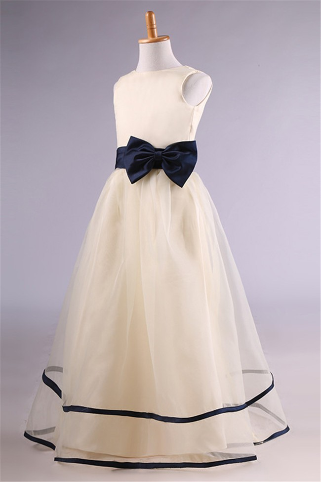941d2883f88 A Line Champagne Satin Tulle Navy Blue Sash Flower Girl Dress