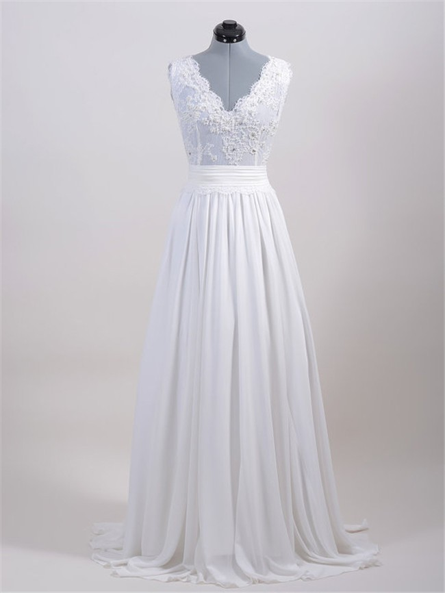 A Line Chiffon Vintage Lace Pearl Beaded Wedding Dress With Sash