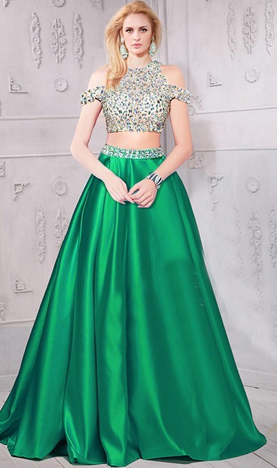 ce506e81fab A Line Cold Shoulder Long Emerald Green Satin Beaded Two Piece Prom Dress