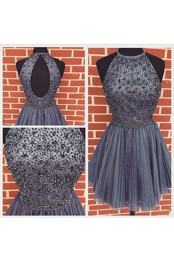A Line Halter Cut Out Back Short Charcoal Grey Tulle Beaded Prom Dress