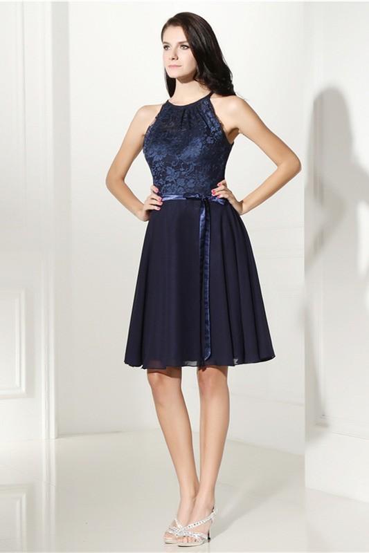 d55e20acb98c A Line Halter Keyhole Back Short Navy Chiffon Lace Prom Dress With Sash