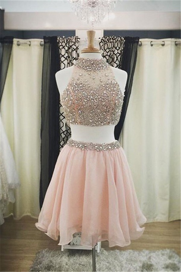 A Line Halter Short Blush Pink Tulle Beaded Two Piece Prom Dress