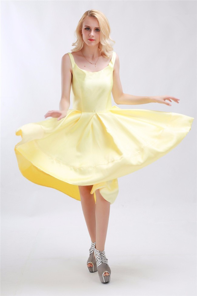 A Line High Low Yellow Taffeta Party Prom Dress With Straps