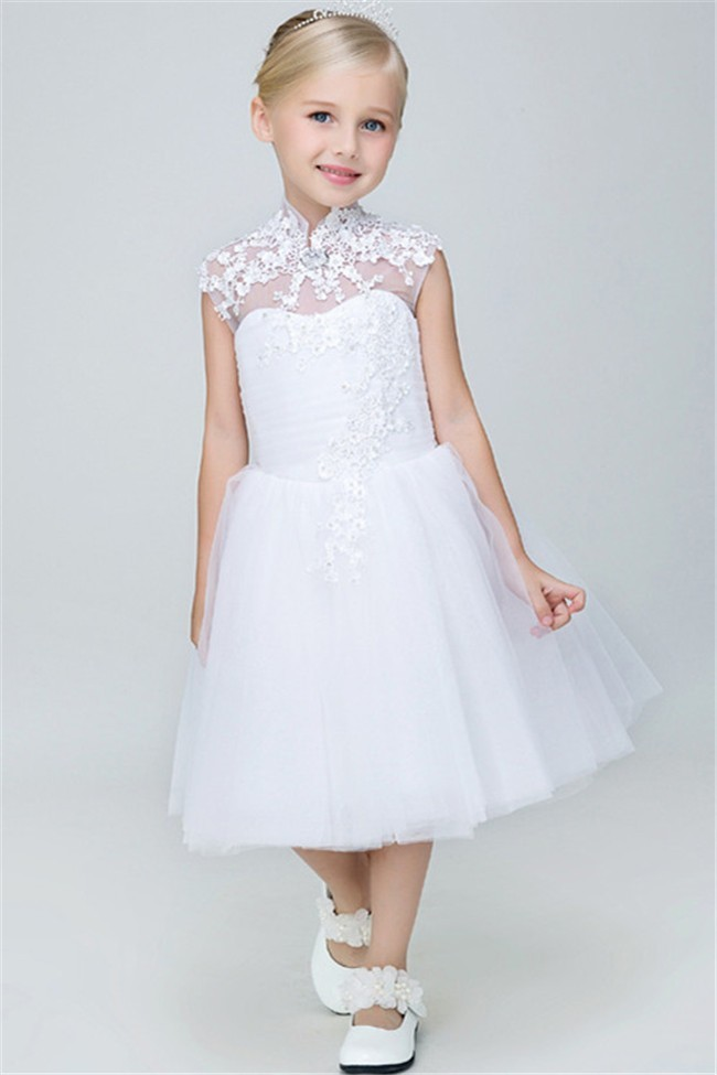 A Line High Neck Cap Sleeve Tea Length Tulle Lace Flower