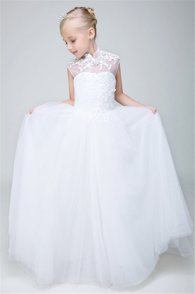 7d0b8ac2773 A Line High Neck Cap Sleeve Tulle Lace Flower Girl Dress