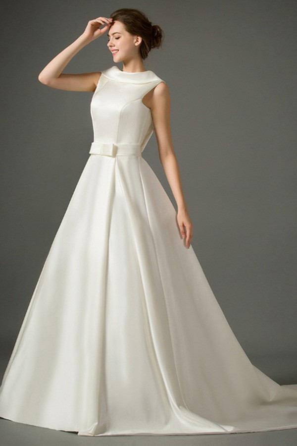 A Line High Neck Collar Low Back Satin Wedding Dress With Bow Sash