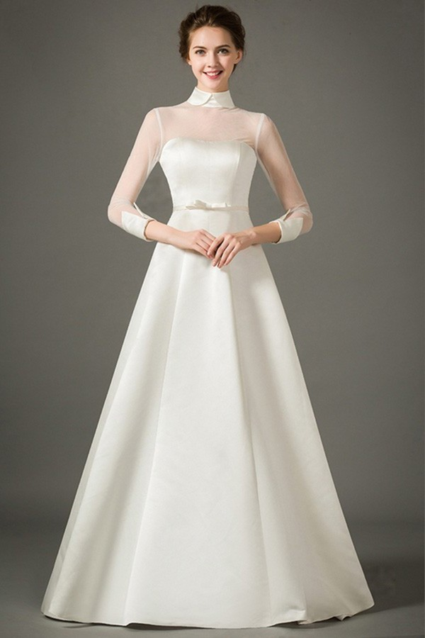 A Line High Neck Collar Sheer Tulle Sleeve Satin Wedding Dress Bow Belt