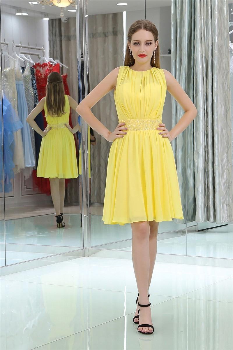 A Line High Neck Full Back Short Yellow Chiffon Prom Dress