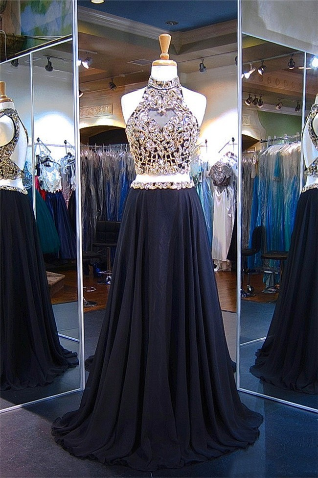 4daac018b24438 A Line High Neck Open Back Two Piece Black Chiffon Gold Beaded Prom Dress