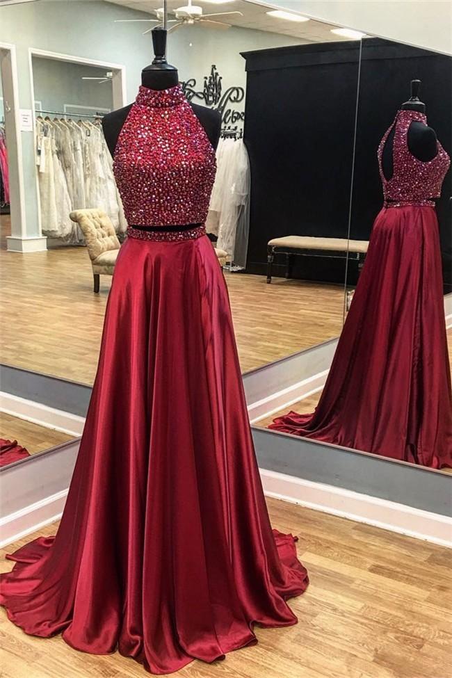 High Neck a Line Prom Dresses