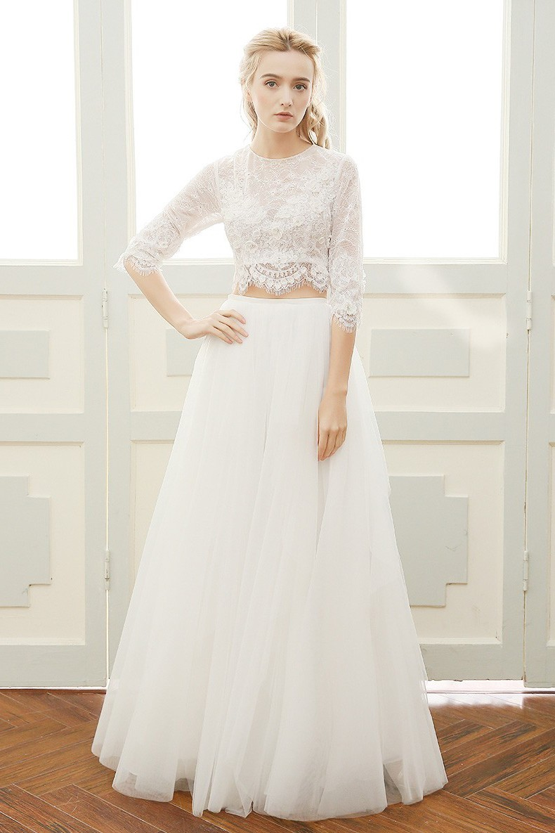 A Line High Neck Tulle Lace Sleeve Boho Two Piece Wedding Dress