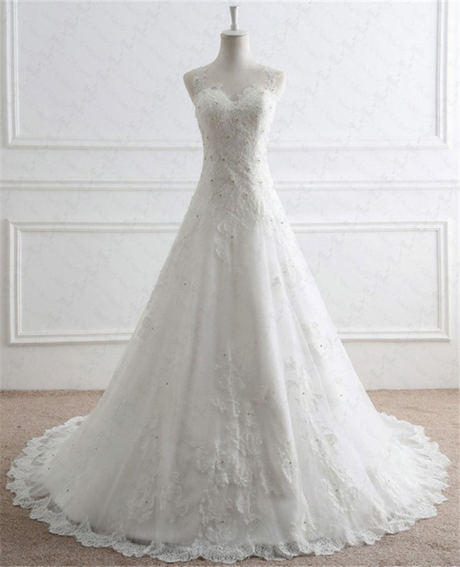 A Line Illusion Neckline Tulle Lace Beaded Pearl Wedding Dress With