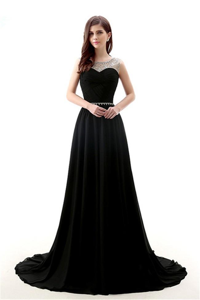 A Line Jewel Neckline Long Black Chiffon Formal Occasion Prom Dress ...