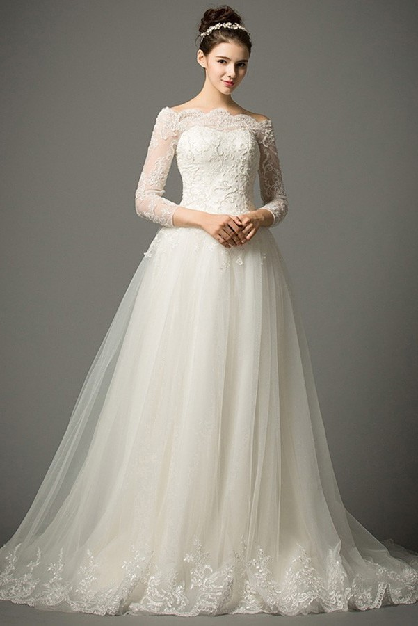 A Line Off The Shoulder 3 4 Sleeve Tulle Lace Wedding Dress With