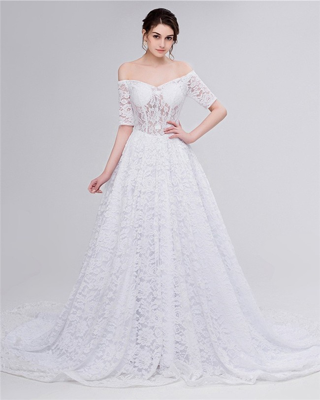 A Line Off The Shoulder Corset Back Lace Wedding Dress With Short