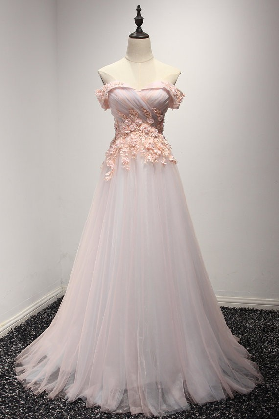 A Line Off The Shoulder Long Blush Pink Tulle Lace Prom Dress