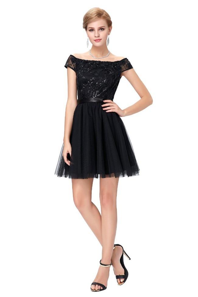 A Line Off The Shoulder Short Black Tulle Prom Dress With Sash