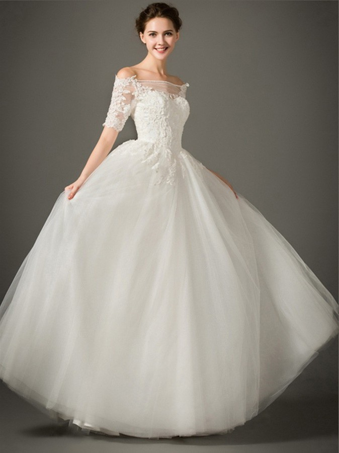 f8a41cd9e96c A Line Off The Shoulder Short Sleeve Tulle Lace Wedding Dress Without Train