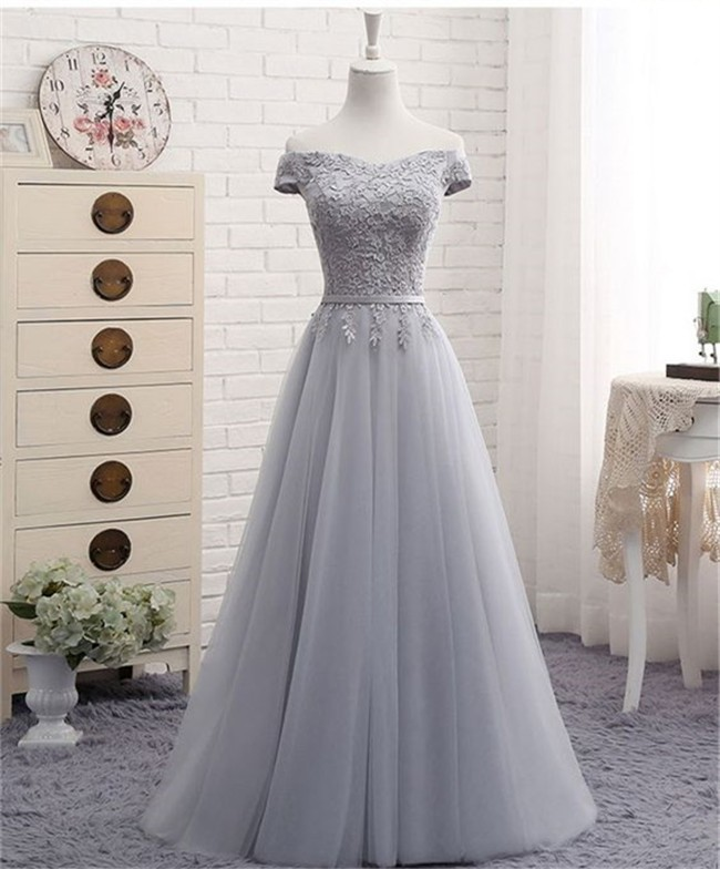81feb536e6d5 A Line Off The Shoulder Silver Tulle Lace Prom Dress With Belt