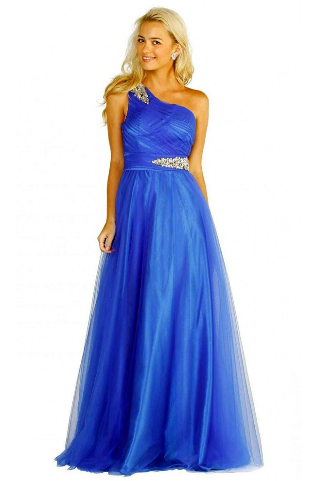A Line One Shoulder Long Royal Blue Tulle Rhinestone Prom ...