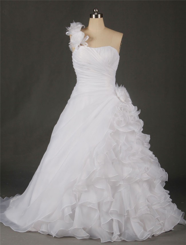 A line one shoulder organza ruffle flower plus size for Free plus size wedding dress catalogs
