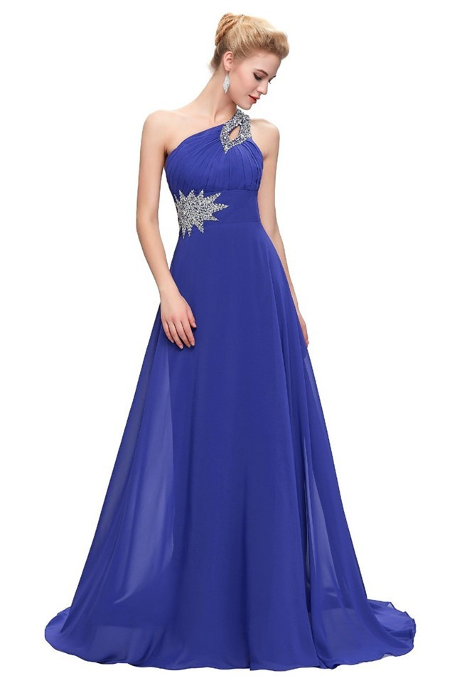 0055b5b8e9b A Line One Shoulder Royal Blue Chiffon Beaded Prom Dress Lace Up Back