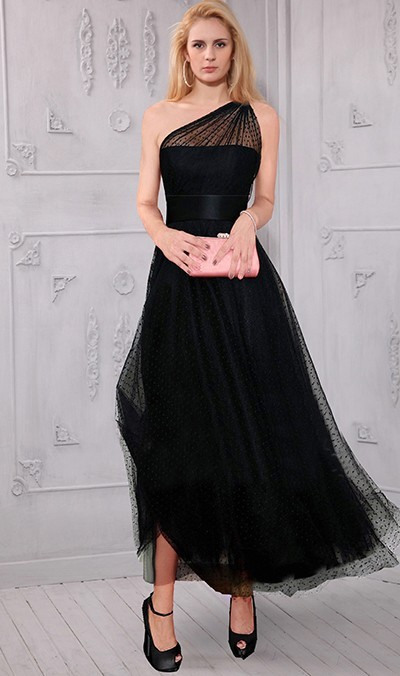 1cc9d32bff A Line One Shoulder Tea Length Black Tulle Evening Prom Dress