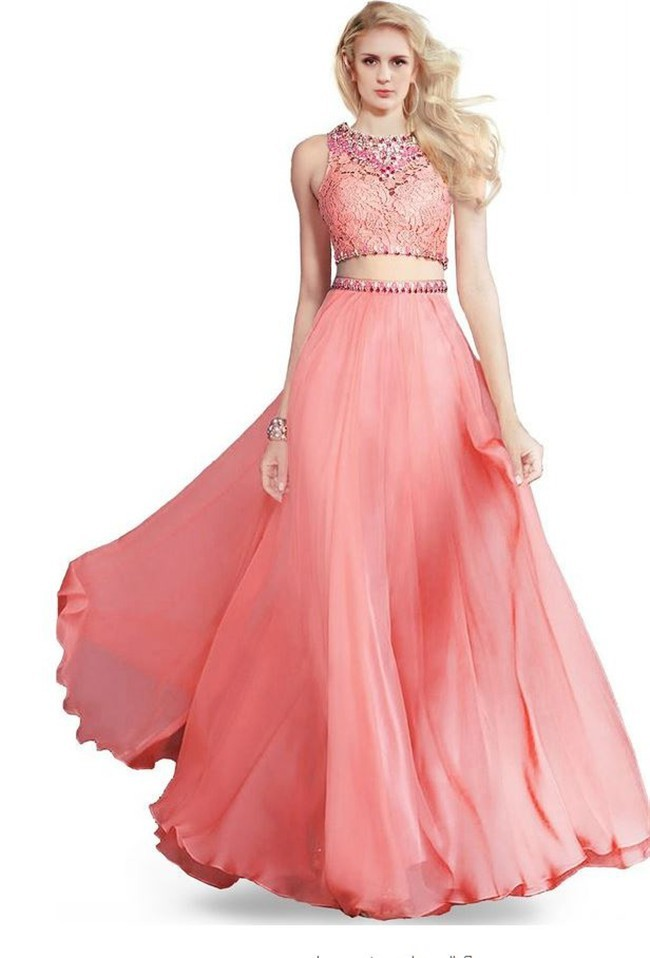 A Line Open Back Coral Chiffon Lace Beaded Two Piece Prom Dress