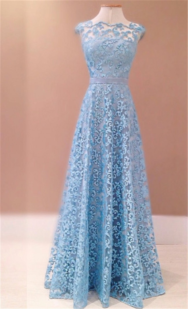 A Line Scalloped Neck Backless Sky Blue Lace Evening Prom Dress With ...