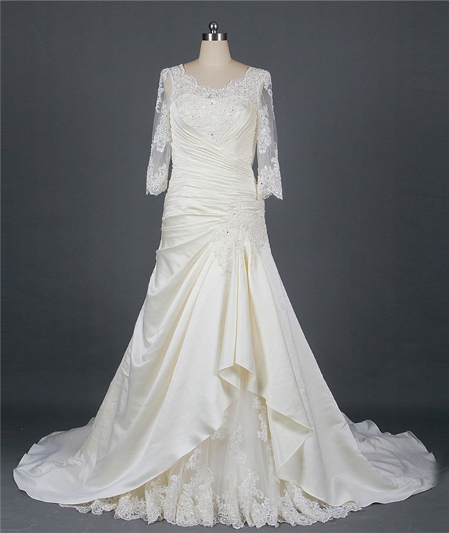 A Line Scalloped Neck Corset Back Ivory Satin Draped Wedding Dress With Lace Sleeves